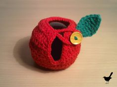 Red Crochet Apple Cozy with Green Crochet Leaf and by ZUZKICA, $6.50
