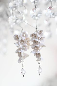 DomiPolymerClay / .Pure.  Striebro Ag 925 Cold Porcelain, Gorgeous Women, Pure Products, Drop Earrings, Texture, Beads, Pretty, Floral, Handmade
