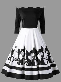 dc83dfb3ec Plus Size Kitten Scalloped Off The Shoulder Retro Dress - WHITE BLACK 2XL  Vintage Dresses