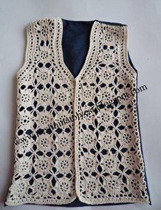 30 Stylish Women's Vest Knitting Models with Floral Motif Openwork - New Hobby Débardeurs Au Crochet, Pull Crochet, Gilet Crochet, Mode Crochet, Crochet Jacket, Lace Jacket, Crochet Cardigan, Crochet Stitch, Cardigan Pattern