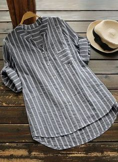 Casual Sleeve Buttoned High Low V neck Stripes Linen Blouse - moda Casual Shirt Look, Casual Shirts, Casual Tops, Striped Linen, Striped Blouses, Grey Women's Tops, Mode Outfits, Short Sleeve Blouse, Long Sleeve