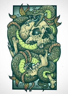 Skull, Snake, Tattoo, Sleeve