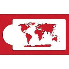 World Map Cake Side Stencil by Designer Stencils