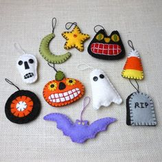 wool felt halloween ornaments set of 10 by maryimp on etsy