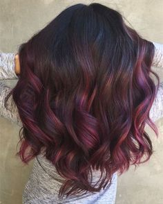 Black hair you can try this classic plum Brown ombre wavy hair color idea