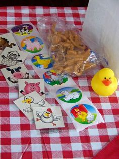 farm party-  stickers haystacks and watermelon pig. May be more ideas too!