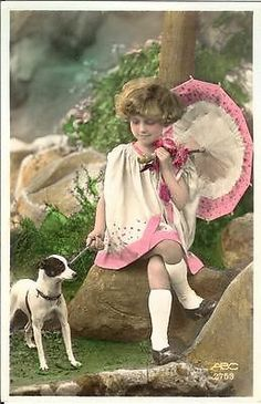 Girl w umbrella n JACK RUSSELL or fox terrier DOG old photo postcard