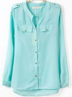 Blusa cuello pico botones manga larga-azul