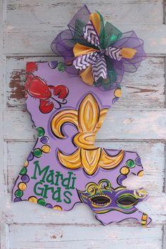 LOVE!!! Mardi Gras Door Hanger Louisiana Door Hanger by BluePickleDesigns, $48.00