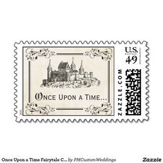 """Once Upon a Time Fairy tale Castle Postage Stamps - perfect for your storybook princess or Disney wedding invitations! Available in other colors. #weddings #disneywedding**EXPLORE an Amazing Collection of  """"Theme Matching Wedding Invitation Sets"""" by Visiting... http://www.zazzle.com/weddinginvitationki"""
