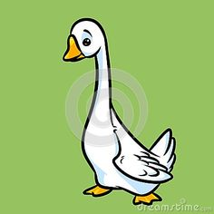 White goose cartoon illustration card animal character