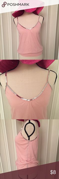 Express Pink cotton with silver sequin detail Express Pink cotton with silver sequin detail. Worn once. Great to pair with jeans and flats or heels to dress it up. Express Tops Tank Tops