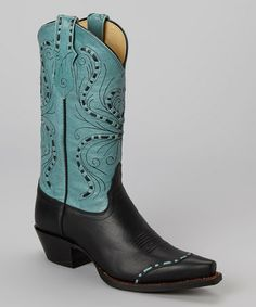 Take a look at this Black Vail Cowboy Boot - Women by Tony Lama on #zulily today! Dang! Love this color combo! Love the top near toe. I can see these with a gorgeous western skirt and bare legs. Yee-hawwww!
