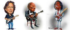 Eric Clapton,BB.King & Buddy Guy<3 Caricature.