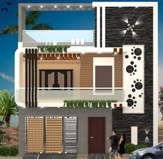 Top ideas for home decor and interior design floors, ceiling and wall 3 Storey House Design, Bungalow House Design, House Front Design, Small House Design, Modern House Design, Exterior Wall Design, Facade Design, Architecture Design, Front Elevation Designs