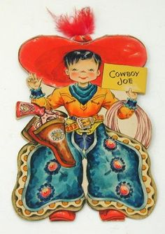 1948 Hallmark Land of Make Believe Paper Doll Card 23 Cowboy Joe