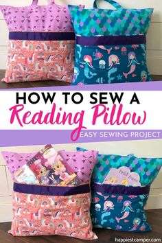 How To Sew A Reading Pillow, Looking for an easy sewing project to make for your kids? Learn how to make these absolutely ADORABLE reading pillows with our step-by-step tutorial. How To Sew A Reading Pillow Sewing Hacks, Sewing Tutorials, Sewing Crafts, Sewing Tips, Crafts To Sew, Fabric Crafts, Sewing Machine Projects, Sewing Projects For Beginners, Easy Kids Sewing Projects