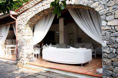 covered patio with bar at Villa Maratea