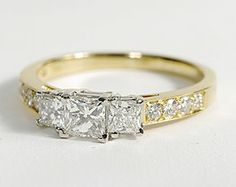 Three Stone Pave Diamond Ring in 18k Yellow Gold #BlueNile #Engagement
