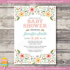 Flower Floral Baby Shower Invitation - Country Shabby Chic Baby Boy Baby Girl Gender Neutral Invite - DIY Printbale Invite
