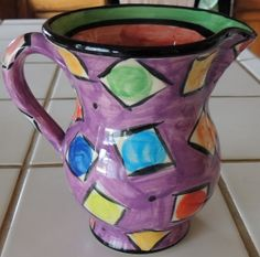 MARY ROSE YOUNG Tall Pitcher Hand Made Hand by FluffyPuppiesMosaic, $200.00