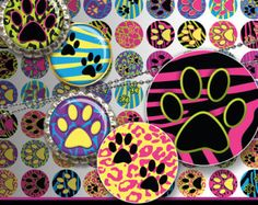 "INSTANT DOWNLOAD - 1"" Circles Paws 01 Printable Extreme Animal Skin Bottle cap Jewelry Magnets Resin Stickers hot pink purple Pyo DIY"