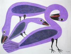 Inuit Gallery of Vancouver - Specializing in Inuit art, Northwest Coast art, Native Indian art, Canadian aboriginal art, Jewelry, Sculptures, Prints, Drawings, Masks - Preening Purple Birds by Kenojuak Ashevak