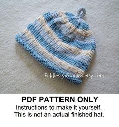 KNITTING PATTERN - Baby Boy Hat Knitting Pattern PDF - Blue Stripe Beanie (Newborn Infant Toddler Child sizes) New Baby Boy Knitting Pattern. $5.50, via Etsy.