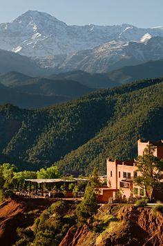 Kasbah Bab Ourika, Atlas Mountains, Morocco. Wow. Did not know Morocco had mountains like this.