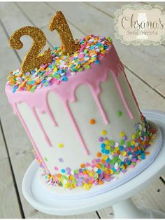 Pink 21th birthday drip cake More