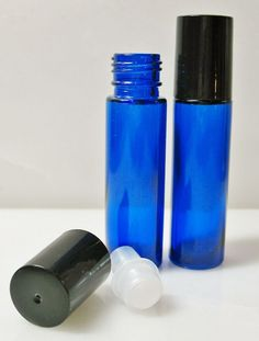 2 x 10ml Cobalt Blue Glass Roller Bottle NEW FREE SHIPPING #Unbranded