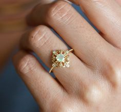 Vintage Opal Ring, Ethiopian Opal Ring, Opal Engagement Ring, Opal Diamond Ring, Art Deco Opal Ring, Gold Opal Ring, Lace Opal Ring by capucinne on Etsy https://www.etsy.com/listing/491175895/vintage-opal-ring-ethiopian-opal-ring