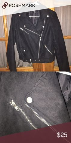FAUX SUEDE MOTO JACKET - GREAT CONDITION GREAT jacket (just have a lot that are similar). Matte silver hardware which is cool and different. No stains or anything on it, only worn a handful of times. Relatively warm! Forever 21 Jackets & Coats