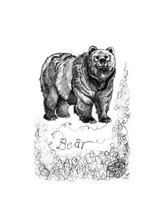 Fawn & Lark // Grizzly Ink Drawing