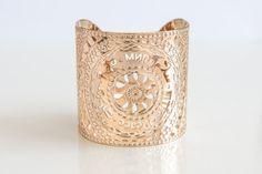 Rose Gold cuff bracelet, Rose gold jewelry, Rose gold bracelet, peace, cuff bracelet, modern jewelry, multilingual, language design on Etsy, $145.00