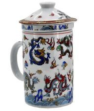 White Dragon China Tea Cup with a Strainer  Free Tibetan Prayer Flags