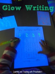 Glow Writing: Set up a black light in a darkened spot and give children highlighters!  A super fun way for children to write.