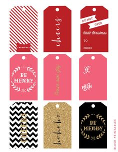 Glittery Christmas Holiday Gift Tags  Set of 9  by blushprintables, $6.00