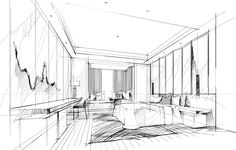 Interior Design Sketches, Sketch Design, Sketch Painting, Sketch Drawing, Sketching, Perspective Sketch, Conceptual Drawing, Building Drawing, Hand Sketch