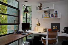 L-shaped corner window desk