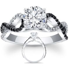 Black & White Diamond Engagement Ring infinity Diamonds band [So want this, but princess cut, not round]