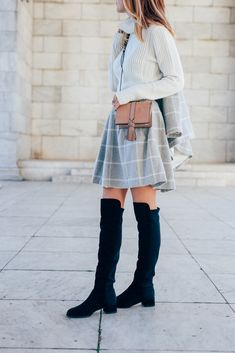 Reiss Crossbody Bag and Windowpane Winter Skirt with Stuart Weitzman Boots on Prosecco and Plaid