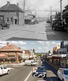 High Street near Castlereagh Street, Penrith, looking west in the 1920's and 2014. [1920's - Penrith City Council>2015 - Google Street View. By Phil Harvey] South Australia, Western Australia, Australian Road Trip, Phil Harvey, Penrith, Amazing Pics, Blue Mountain, Old Photos, Past