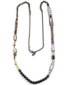 Black Agate Necklace with Multicolored Stones