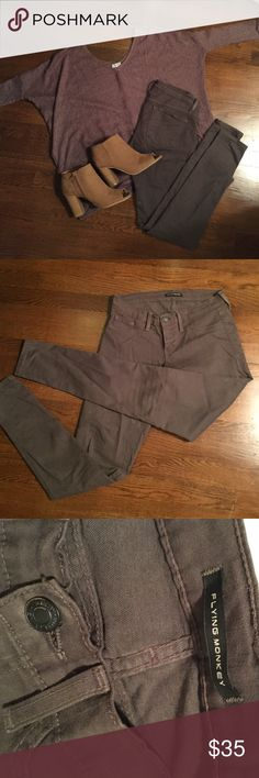 Gray Flying Monkey Jeans Gray Flying Monkey Jeans, great for fall!! Sweater and boots for sale also. Size 27. The gray is more of a Taupey than an ash. Flying Monkey Pants Skinny