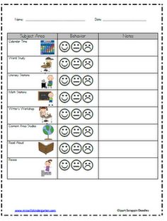 Wills Kindergarten: Classroom Behavior classroom-management Behavior Management Chart, Behavior Contract, Behavior Plans, Behaviour Chart, Classroom Management, Class Management, Behavior Sheet, Behavior Log, Behavior Report
