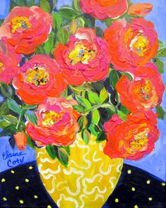 Orange Pink Roses  is an original painting done by me Elaine Cory. It is on a canvas 11 x 14 x 1 1/2. The sides are paintedl like the front. It is wired for hanging. This painting does not need framing.  Testimonials Reviews My third commission with Elaine Cory. Another treasure. The perfect wedding gift for a special couple. She had it to me within two weeks. So grateful to have found this amazing artist. Already have another idea for her!  I ordered several pieces from Elaine. She is ...