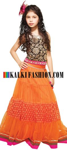 Buy Online from the link below. We ship worldwide (Free Shipping over US$100)  http://www.kalkifashion.com/orange-lehenga-embroidered-in-thread-with-brocade-blouse.html