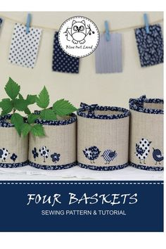 FOUR BASKETS SEWING pattern. © Blue Owl Land - FOUR BASKETS SEWING pattern. Patchwork Patterns, Pdf Sewing Patterns, Sewing Tutorials, Quilting Patterns, Patchwork Bags, Bag Tutorials, Beginners Sewing, Purse Patterns, Free Sewing