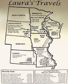 To use when reading the Little House on the Prairie Books: Laura Ingalls Wilder map Laura Ingalls Wilder Biography, Wisconsin, Kansas, Into The West, Le Far West, South Dakota, Missouri, New Mexico, 1